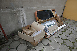 August 19, 2017 - Bydgoszcz, Poland - Old furniture is seen in a trash disposal area near a residential building on 19 August, 2017. (Credit Image: © Jaap Arriens/NurPhoto via ZUMA Press)