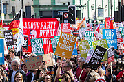 Banners and placard at the TUC No to Austerity demo outside the Conservative party conference, Manchester. 4th October 2015.