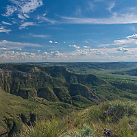 Eroded coulees drain into the Judith River Valley in Fergus County, Montana.
