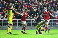 Referee James Linington rules out a goal and gives a foul during the EFL Sky Bet Championship match between Bristol City and Burton Albion at Ashton Gate, Bristol, England on 13 October 2017. Photo by John Potts.