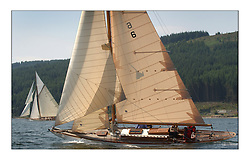 Mikado beating upwind in the West Kyle on the last days racing with Lady Anne in the background....This the largest gathering of classic yachts designed by William Fife returned to their birth place on the Clyde to participate in the 2nd Fife Regatta. 22 Yachts from around the world participated in the event which honoured the skills of Yacht Designer Wm Fife, and his yard in Fairlie, Scotland...FAO Picture Desk..Marc Turner / PFM Pictures