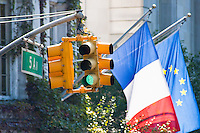 traffic lights near the french embassy in New York City in October 2008