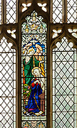 Stained glass window depicting Annunciation,  'Blessed are the pure in heart', Bedingfield church, Suffolk, England, UK c1865 prob William Miller