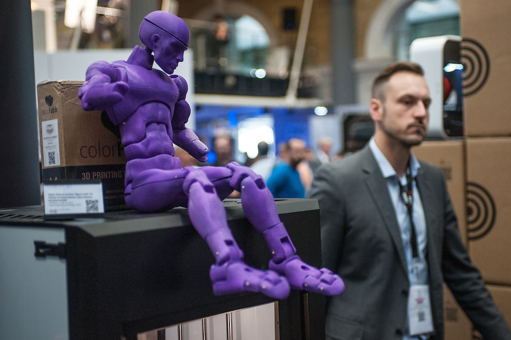 An Open-Source Action Figure with 70 points of Articulation (aka Dexter) by jasonwelsh  is on display at the 3D Printshow at the Old Billingsgate in London. 3D Printshow brings together the biggest names in 3D printing technology alongside the most creative, exciting and innovative individuals using additive processes today.