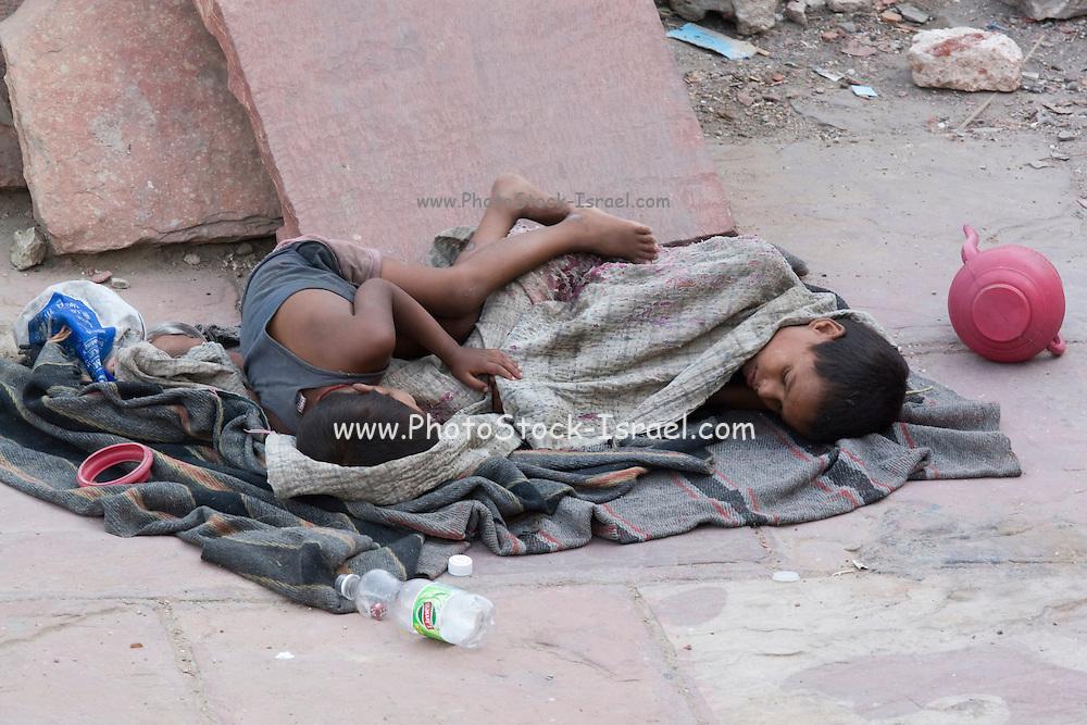India, Delhi, Homeless Children living on the street