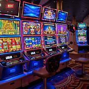 Empty slot machines are seen in Las Vegas, Nevada on Monday, October 19, 2020. (Alex Menendez via AP)