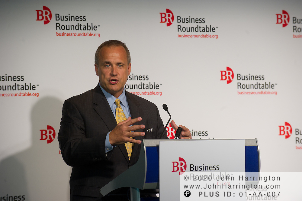 """Jim Nussle, President & COO, Growth Energy, Former Chairman, House Budget Committee addresses the attendees of the Business Roundtable """"Meeting the Challenges of Economic Growth and Deficit Reduction"""" discussion at the Newseum in Washington, DC on September 6th, 2011."""