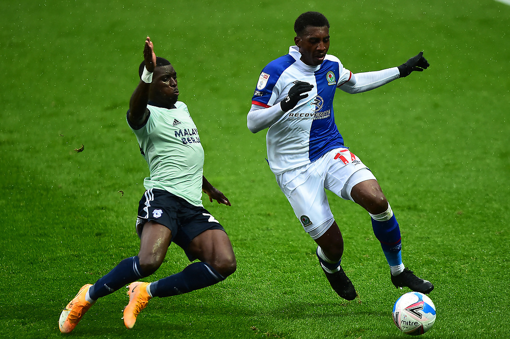 Blackburn Rovers' Amari'i Bell is challenged by Cardiff City's Sheyi Ojo<br /> <br /> Photographer Richard Martin-Roberts/CameraSport<br /> <br /> The EFL Sky Bet Championship - Blackburn Rovers v Cardiff City - Saturday 3rd October 2020 - Ewood Park - Blackburn<br /> <br /> World Copyright © 2020 CameraSport. All rights reserved. 43 Linden Ave. Countesthorpe. Leicester. England. LE8 5PG - Tel: +44 (0) 116 277 4147 - admin@camerasport.com - www.camerasport.com