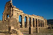 MOROCCO, ROMAN HISTORY Volubilis, 1-3C AD, Roman city in the Roman province of Mauretania Tingitana; view of the Basilica in the Forum