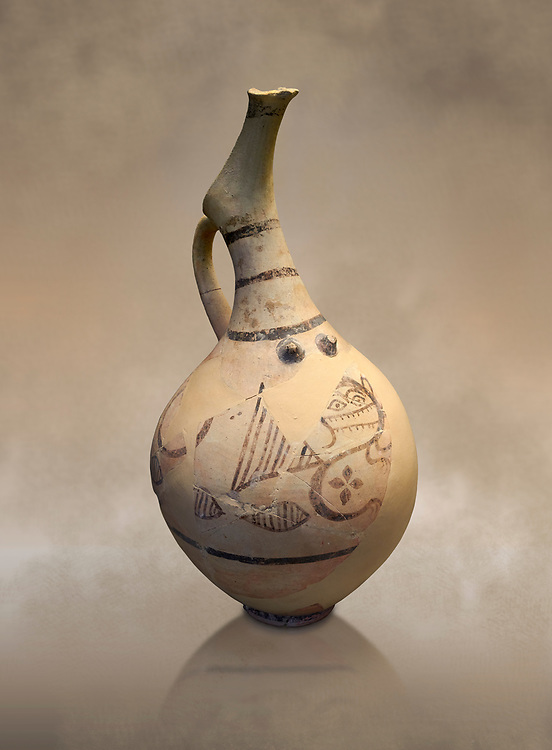Cycladic beaked nippled jug with monstrous creature decoration.   Cycladic (18th-17th cent BC BC) , Phylakopi I-IV, Melos. National Archaeological Museum Athens.  Cat no 5777. .<br /> <br /> If you prefer to buy from our ALAMY PHOTO LIBRARY  Collection visit : https://www.alamy.com/portfolio/paul-williams-funkystock/cycladic-art-artefacts.html Type into the LOWER SEARCH WITHIN GALLERY box to refine search by adding background colour, place, museum etc<br /> <br /> Visit our CYCLADIC CIVILISATIONS PHOTO COLLECTIONS for more photos to download or buy as wall art prints https://funkystock.photoshelter.com/gallery-collection/Cycladic-civilisation-Ancient-Greek-Artefacts-art-Photos-Pictures-Images/C0000CmevVvnC.XU