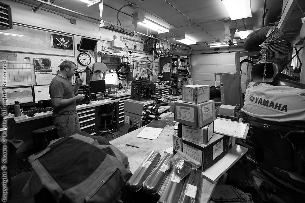 Early season repairs and inventory in the boathouse