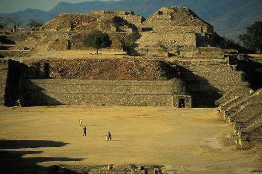 Zapotec ruins of Monte Alban in Oaxaca Mexico