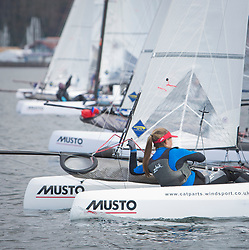 The annual RYA Youth National Championships is the UK's premier youth racing event. This year's regatta is taking place in Largs, Scotland, and will feature around 200 young sailors aged between 14 and 21. <br /> <br /> Nacra 15 Fleet line up for a practice start. <br /> <br /> Images: Marc Turner / RYA<br /> <br /> For further information contact:<br /> <br /> Richard Aspland, <br /> RYA Racing Communications Officer (on site)<br /> E: richard.aspland@rya.org.uk<br /> m: 07469 854599