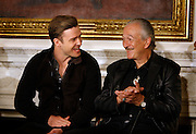 """April 9, 2013 - Justin Timberlake (left) and harmonica great Charlie Musselwhite  took questions from students during a Memphis music workshop in the State Dining Room at the White House on Tuesday. Both men grew up in Memphis and were influenced by sounds that came from the Memphis. The workshop event: """"Soulsville, USA: The History of Memphis Soul""""  was attended by students from all over the country, including two from Stax Academy in Memphis.  It was hosted by Michelle Obama."""