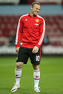 Wayne Rooney, the Manchester United captain smiling during pre match warm up. The Emirates FA cup, 6th round replay match, West Ham Utd v Manchester Utd at the Boleyn Ground, Upton Park  in London on Wednesday 13th April 2016.<br /> pic by John Patrick Fletcher, Andrew Orchard sports photography.