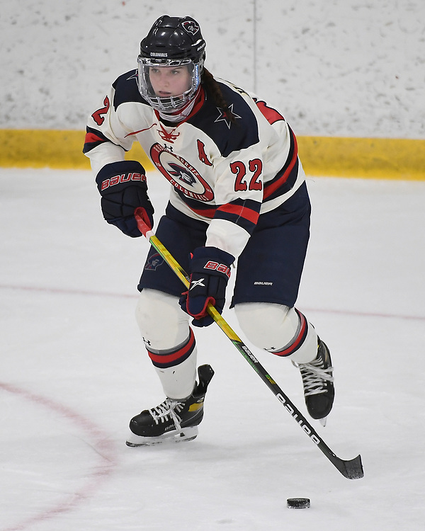 PITTSBURGH, PA - DECEMBER 03: Emilie Harley #22 of Robert Morris Colonials skates with the puck in the third period during the game against the Lindenwood Lions at Clearview Arena on December 3, 2020 in Pittsburgh, Pennsylvania. (Photo by Justin Berl/Robert Morris Athletics)
