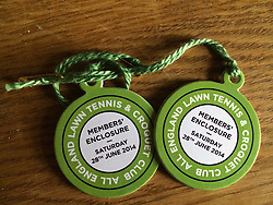 The All England Lawn Tennis Championship 2014. 28th June 2014.<br /> Picture shows - Members Badges
