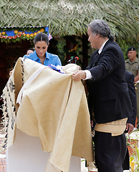 The Duchess of Sussex unveils a dedication to the forest reserves during a visit to Tupou College in Tonga on the second day of the royal couple's visit to Tonga.