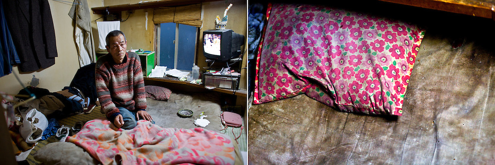 LEFT: Hiromi Minakami, 70, lives in a tiny room paid by welfare in Kamagasaki, Japan. <br /> <br /> RIGHT: A pillow of Hiromi Minakami, 70, who lives in a tiny room paid by welfare, is seen in Kamagasaki, Japan.