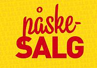 Typografisk salgsplakat med norsk tekst «påskesalg» i forgrunnen og gjentakende «salg» i bakgrunnen. Rød tekst mot gul bakgrunn.