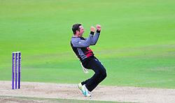 Roelof Van Der Merwe of Somerset celebrate the wicket of Jimmy Adams.  - Mandatory by-line: Alex Davidson/JMP - 02/08/2016 - CRICKET - The Ageas Bowl - Southampton, United Kingdom - Hampshire v Somerset - Royal London One Day