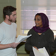 "Brian Chamberlain as Blair and Kortney Adams as Zeba in a rehearsal for Kent Stephen's ""Love and Faith and Other Dirty Words"""