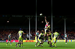 A line out in contested between Harlequins and Sale Sharks under the lights at Twickenham Stoop - Mandatory by-line: Robbie Stephenson/JMP - 06/10/2017 - RUGBY - Twickenham Stoop - London, England - Harlequins v Sale Sharks - Aviva Premiership