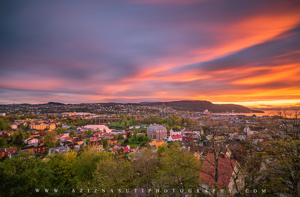 www.aziznasutiphotography.com                                     Beautiful sunset time over Trondheim from Kristiansten Fortress (Festning).