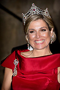 Galadiner voor het Corps Diplomatique in het Koninklijk Paleis in Amsterdam // Gala dinner for the Corps Diplomatique at the Royal Palace in Amsterdam<br /> <br /> Op de foto:  Koningin Maxima / Queen Maxima