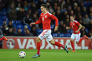 Tom Lawrence of Wales (11) in action. Vauxhall International football friendly, Wales v The Netherlands at the Cardiff city stadium in Cardiff, South Wales on Friday 13th November 2015. pic by Andrew Orchard, Andrew Orchard sports photography.