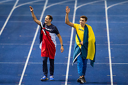August 12, 2018 - Berlin, GERMANY - 180812 Renaud Lavillenie of France and Armand Duplantis of Sweden celebrates after the men´s pole vault final during the European Athletics Championships on August 12, 2018 in Berlin..Photo: Vegard Wivestad Grøtt / BILDBYRÃ…N / kod VG / 170206 (Credit Image: © Vegard Wivestad GrØTt/Bildbyran via ZUMA Press)