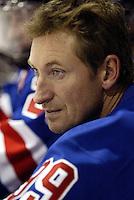 17 February 2004: Headshot profile view of NHL Legend veteran ice hockey player  Wayne Gretzky headshot on the bench during a tournament in Phoenix, AZ.