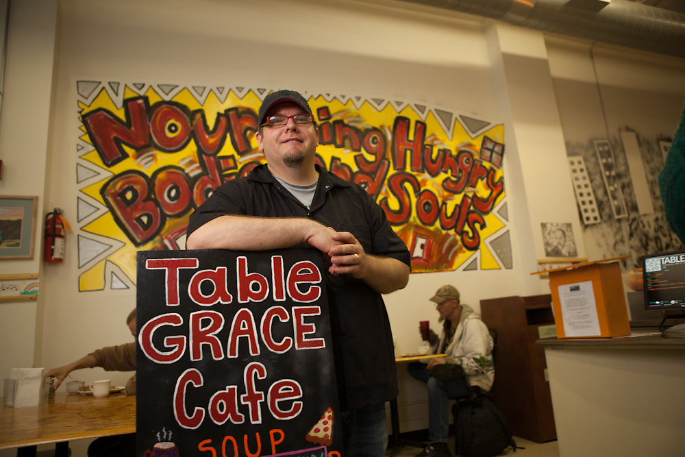"""21 March 2012- Matt Weber is photographed at his restaurant """"Table Grace Cafe"""" for The Encounter Magazine."""