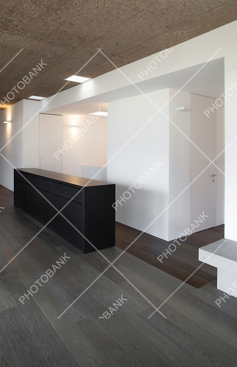 Architecture, modern apartment, empty room, parquet floor