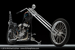 Maui custom bike builder Noah O'Geen's panhead chopper. Photographed by Michael Lichter in Sturgis, SD on August 14, 2016. ©2016 Michael Lichter.