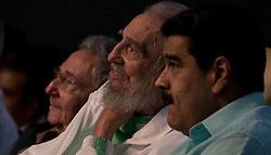 Aug. 13, 2016 - Havana, Cuba - Cuba's revolutionary leader FIDEL CASTRO Fidel Castro (C), alongside Venezuelan President NICOLAS MADURO (R), enjoying a gala in honor of his 90th birthday at the Karl Marx Theater in Havana, capital of Cuba. (Credit Image: © Ismael Francisco/[E]Cubadebate/Xinhua via ZUMA Wire)