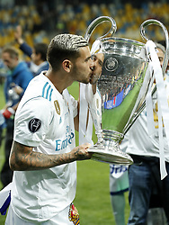 Theo Hernandez of Real Madrid with UEFA Champions League trophy, Coupe des clubs Champions Europeens during the UEFA Champions League final between Real Madrid and Liverpool on May 26, 2018 at NSC Olimpiyskiy Stadium in Kyiv, Ukraine