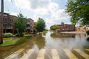 Excessive rains create flood conditions in Madison, Wisconsin, USA. Looking southwest down East Main Street.