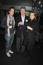 Left to right, DUNCAN STIRLING and ARNAUD & CARLA BAMBERGER at a party to celebrate the 1st birthday of nightclub Kitts, 7-12 Sloane Square, London on 5th March 2008.<br />