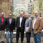 From left, Frank Adams, Chief of Upper Mattaponi, Earl Evans, Tribal Councilor, Haliwa-Saponi, Dean Branham, Chief Monacan Nation, Steve Atkins, Chief of Chickahominy and Robert Gray, Chief of Pamunkey, following the dedication ceremony for Mantle: Virginia Indian Tribute, a monument designed on Virginia State Capitol Square, in Richmond, Virginia, on Tuesday, April 17, 2018. John Boal Photography