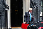 Prime Minister Boris Johnson leaves Ten Downing Street towards Parliament in London to attend his weekly session of PMQs on Wednesday, Sept 16, 2020. (Photo/Vudi Xhymshiti)
