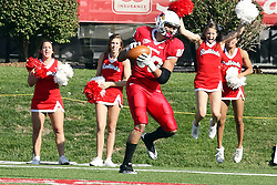 22 October 2011: James O'Shaughnessy reels in a pass from Matt Brown in the end zone during an NCAA football game  the Indiana State Sycamores lost to the Illinois State Redbirds (ISU) 17-14 at Hancock Stadium in Normal Illinois.