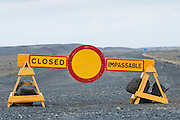 Road block due to bad weather, northeast Iceland
