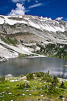 Lookout Lake below Medicine Bow Peak of the Snowy Range in the Medicine Bow Mountains, Wyoming.