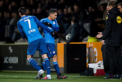 (L-R) Gaston Pereiro of PSV, Mauro Junior of PSV during the Dutch Eredivisie match between Heracles Almelo and PSV Eindhoven at Polman stadium on January 21, 2018 in Almelo, The Netherlands