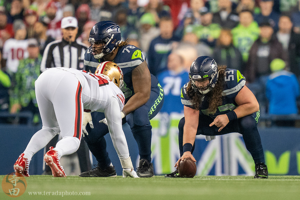December 29, 2019; Seattle, Washington, USA; Seattle Seahawks center Joey Hunt (53) during the first quarter against the San Francisco 49ers at CenturyLink Field.