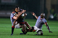 Ashton Hewitt of the Dragons is tackled by the Kings Michael Willemse and Andisa Ntsila (r). Guinness Pro14 rugby match, Dragons v Southern Kings at Rodney Parade in Newport, South Wales on Saturday 30th September 2017.<br /> pic by Andrew Orchard, Andrew Orchard sports photography.