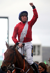 JJ Cod aboard Envoi Allen following their victory in the Weatherbys Champion Bumper during Ladies Day of the 2019 Cheltenham Festival at Cheltenham Racecourse.