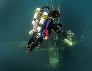KISS Classic and KISS Spirit rebreather divers descend on the Sikorsky Aircraft wreck, Dutch Springs, Scuba diving Resort in Pennsylvania