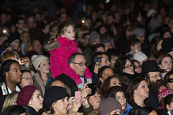 © Licensed to London News Pictures. 16/12/2014. London, UK. Crowds listen to Boris Johnson at the lighting of a Menorah, Chanukah Ceremony in Trafalgar Square, London to celebrate Chanukah (Hanukkah), the eight-day Jewish Festival of Lights. Photo credit : Vickie Flores/LNP